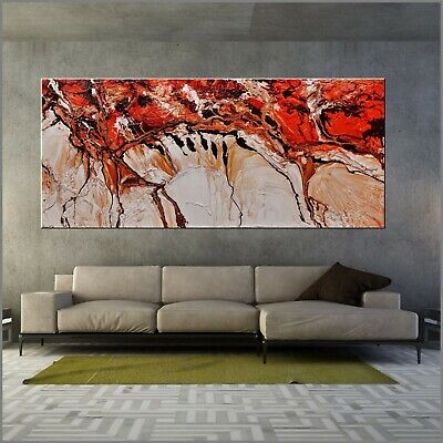 HUGE Ocre Brown White Abstract Art Painting Textured Canvas 270cm x 120cm Franko