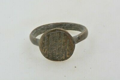 Roman Byzantine Bronze ring engravings 100- 800 AD US size 4 1/2