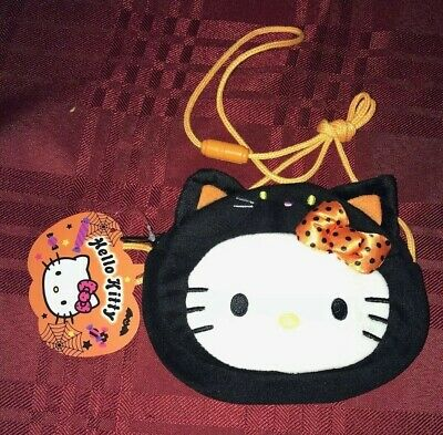 Sanrio Hello Kitty Halloween Black Cat Purse Bag Plush New