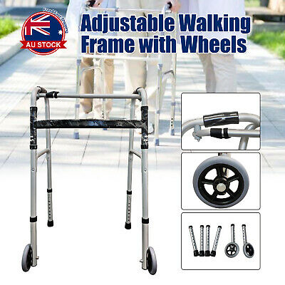 Folding Walking Frame with Wheels Adjustable Elderly Medical Care Walker D