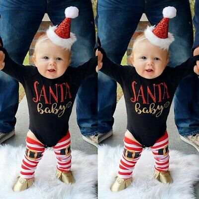 3x/set Newborn Xmas Clothes SANTA BABY Kid Girl Romper Tops Leg Warmers Outfit