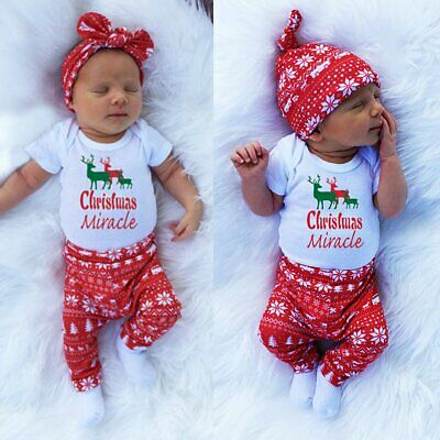 3pcs/set Newborn Kids Baby Boy Girls Xmas Outfits Clothes Romper Tops+Pants+Hat
