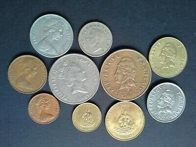 Pacific coins 10 different NZ, Fiji, New Caledonia, Vanuatu & New Hebrides