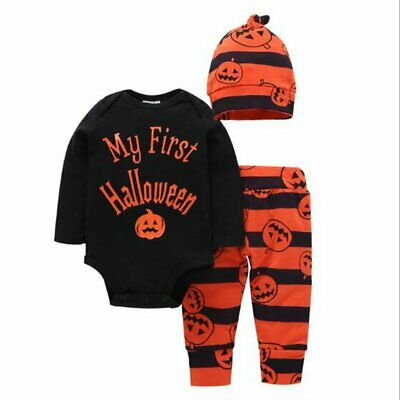 3x Newborn Infant Baby Boy Girl Halloween Clothes Romper+Pants+Hat Outfits Set