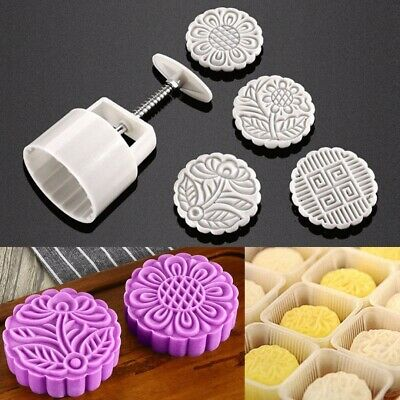 125g Mini Flower Moon Cake Mooncake Mold ABS Round Mould Set With 4 Stamps DIY