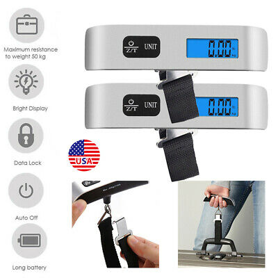 2Pcs 50KG Digital Hanging Luggage Scale Weight Hand Electronic Travel Suitcase