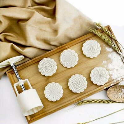 6 Style 50g Stamps Round Flower Moon Cake Mold Mould White Set Mooncake Decor