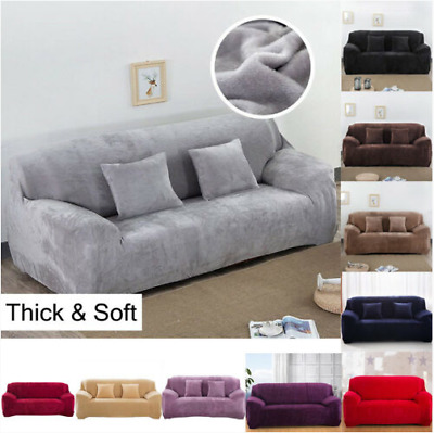 UK Sofa Covers Easy Fit Stretch Protector Soft Couch Cover Thick Plush Velvet TO
