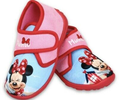 New Infant Girls Slippers Minnie Mouse Pink Mix Uk Size 7, 8, 8.5, 9, 10 & 11