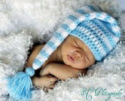 Crochet  Baby Longtailed Striped  Elf Hat Photo Shoot Prop  0-3 months