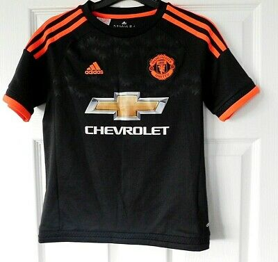 MANCHESTER UNITED Black 3rd Away Football Shirt Top 2015/16 Size 11/12 Years