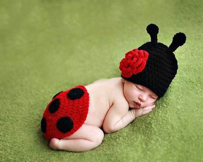 Crochet Ladybird Hat and Tushie cover Photo prop Newborn Baby Photography