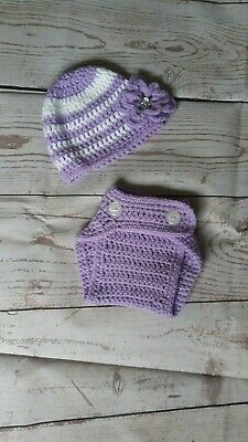 Crochet Baby Hat and Diaper Cover 0-3months  Photo Prop.