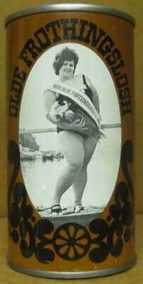 OLDE FROTHINGSLOSH BEER Brown ss CAN with MISS FROTH, Pittsburgh, PENNSYLVANIA