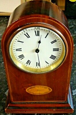 """Vintage  French Rosewood 8 Day Mantel Clock Serviced And Cleaned Working 9"""" Tall"""