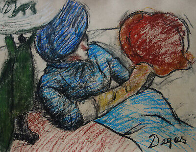 Antique museum impressionist unique original pastel painting Marked Signed Degas