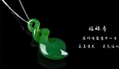 China natural  green jade Pendant silver Necklace Chain