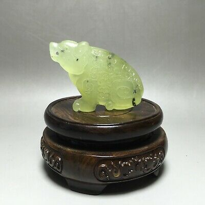 Museum Quality 100% Natural Hand-carved Jade Pendant Jadeite Figurine Bear