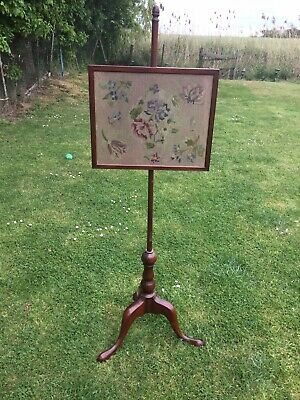 Antique Mahogany/Rosewood Tapestry Behind Glass Pole Fire Screen On Three Feet