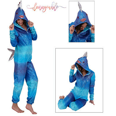 Loungeable Womens 3D Hooded Fish All In One Ladies Shiny Novelty Cosy Nightwear