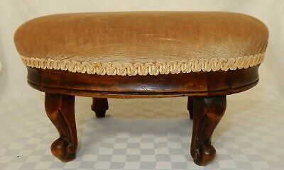 Vintage Walnut Framed Oval Footstool with Velour Gold Fabric