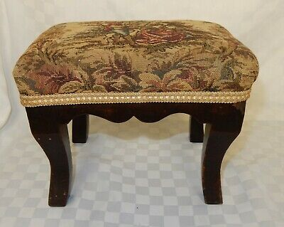 Vintage Mahogany Framed Small Rectangular Footstool with Tapestry Fabric