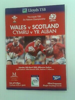 Wales v Scotland Rugby Union 2000 6 Nations Match Programme