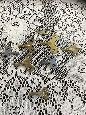 Lot Of 8 Antique Vintage Clock Crank Winding Metal Keys