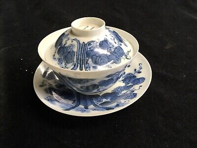 Antique Japanese Fine Porcelain Blue & White Rice Bowl Set C 1900