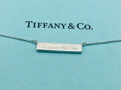 "Tiffany & Co. Necklace Note Logo Square Tag Sterling Silver 15"" Rare O37"