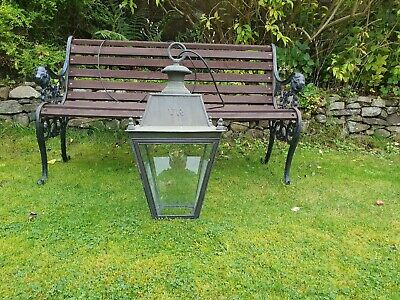 Large old copper/brass Victorian style hanging ceiling lamp/light/lantern porch