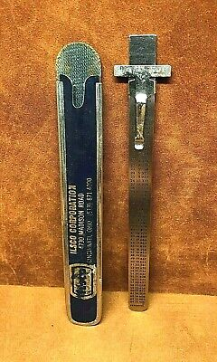 "Vtg Executive Stainless Steel 6"" Ruler Metric Equivalents Depth Gauge ILSCO CORP"