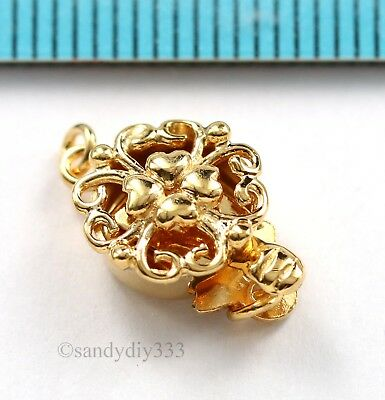 1x 18K GOLD plated STERLING SILVER 1-strand HEART FLOWER BOX PEARL CLASP G181