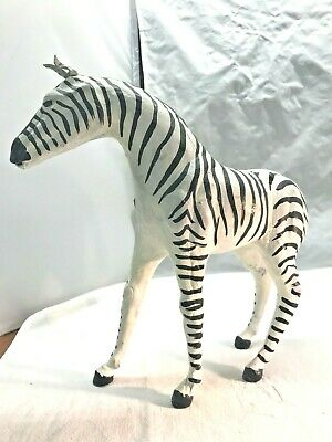 Vintage Leather Paper Mache Zebra with Glass Eyes