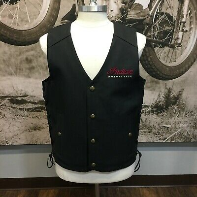 Indian Motorcycle Men's Black Leather Vest