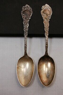 2pc Antique Sterling Silver R. Wallace & Sons Louvre Tablespoons 2.42toz