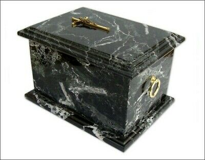 Black Zebra Stone Cremation Casket Ashes Burial Adult Memorial Marble Top Cross