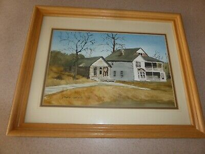 "Mary Weiss, MA  Artist Watercolor Painting Signed Framed 7.5x11"" House"
