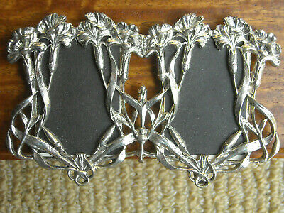 VTG Art Nouveau style silver pewter 2-photo frame, First Impressions, England