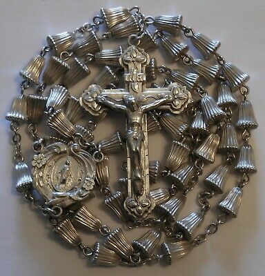 Antique Chapel Sterling Silver Rosary 25 Grams Vintage