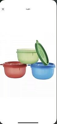 Tupperware New Ideal Lil Bowls Set~BPA Free Red, Blue & Green w/ Matching Seals