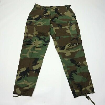 US Military Army Issue Woodland Camo Combat Pants Large Reg See Condition