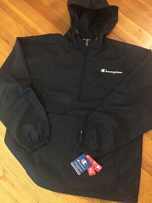 CHAMPION New W/TAG Mens Jacket Hooded Anorak Pull Over BLACK S-M-L-2XL