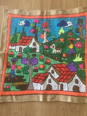 South American Needlepoint Panel Handmade Bright Color Folk Art