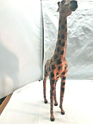 Vintage Leather Paper Mache Giraffe with Glass Eyes
