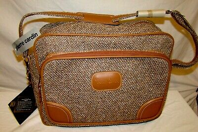 NWT NEW VTG PIERRE CARDIN Brown Tan Tweed Over Shoulder Carry On Bag Luggage #37