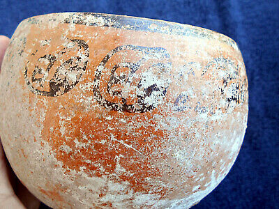 mayan painted bowl, fine maya  classic piece { eroded Glyphs}