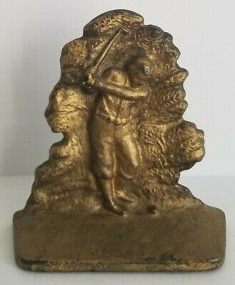 Antique Cast Iron or Brass Golfer Bookend Doorstop Circa 1930's AC Williams Golf