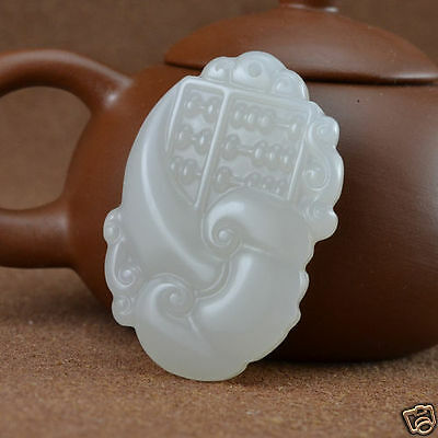 Chinese Natural Beautiful Exquisite hand-carved White hetian Jade Pendant