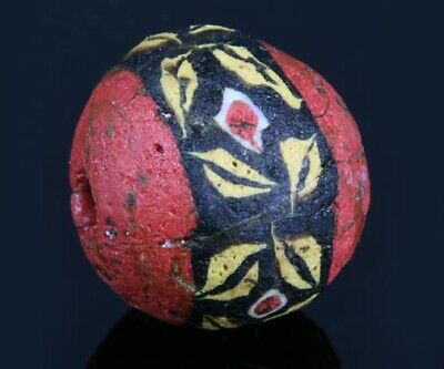 Ancient Roman beads: intact genuine Roman/Egyptian mosaic glass bead,1 century